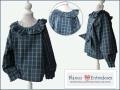 Camisa para niño y para niña, cuadros escoceses verde y azul, cuello y puños con volantes, camisa original para niño, camisa de bebe con volantes, blanco y entredoses moda infantil