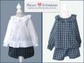 pantalon corto de cuadros para bebe, conjunto niño y niña en cuadros escoceses, moda online infantil blanco y entredoses