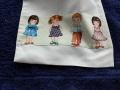 toalla y bolsita para niños - motivos infantiles,blanco y entredoses