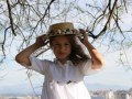 Vestido de comunión de plumeti blanco con cuello barco y manga tres cuartos.JPG