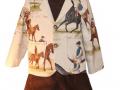 Conjunto de pantalon corto de pana marron y americana de caballos para niño, blanco y entredoses, diseños exclusivos de moda infantil