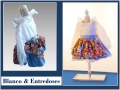 Vestido de plumeti blanco, falda azul de lunares blancos y con delantan estampado de matrioskas