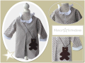 Vestido infantil tela de estrellas, vestido tipo babi para niña, blanco y entredoses, diseño de moda infantil