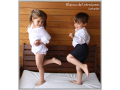 Jesusito blanco de plumeti, camisa de estrellas para niño y pantalón corto niño