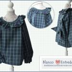 Camisa para niño y para niña, cuadros ingleses verde y azul, cuello y puños con volantes, camisa original para niño, camisa de bebe con volantes, blanco y entredoses moda infantil