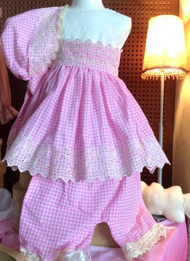 vestido de cuadros de vichy rosa