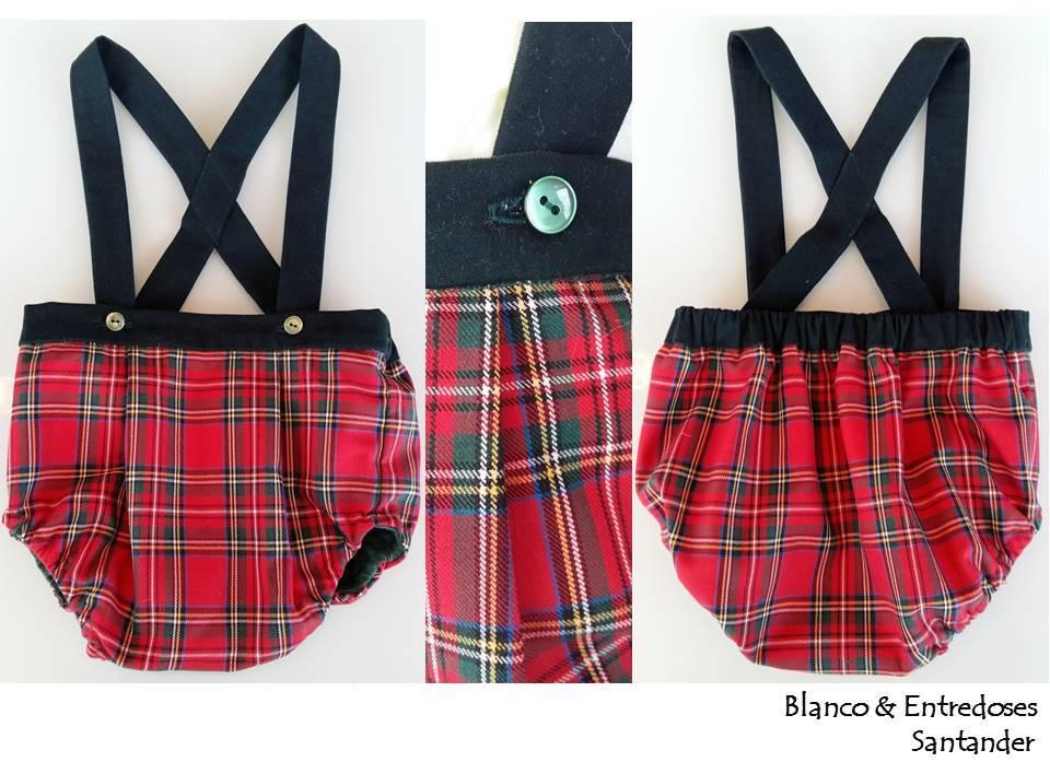 Ranita bebe cuadros escoceses, pelele tartan, moda niños santander