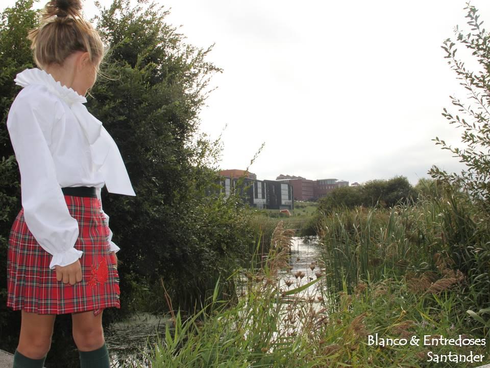 Ropa de cuadros escoceses para niña, falda plisada, moda infantil santander