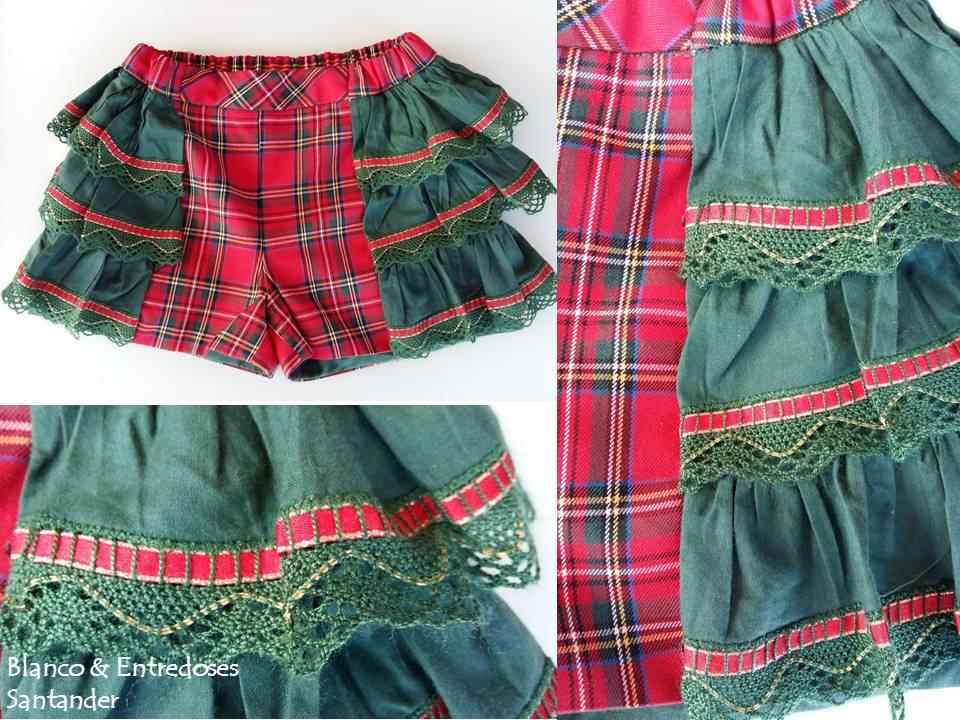 Short de niña tartan, short de volantes cuadros escoceses, tienda online moda