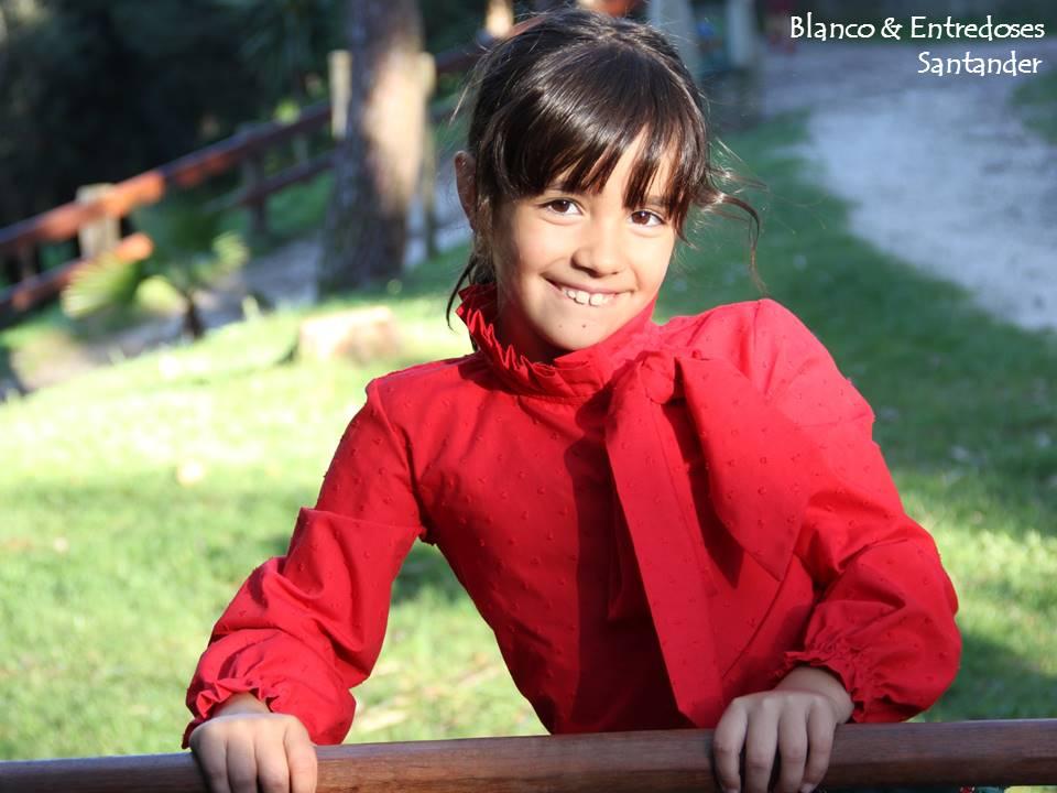 blusa de niña plumeti rojo, camisa cuello gorguera plumeti rojo, tienda online