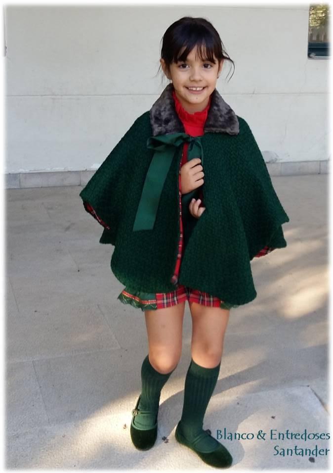 capa para niña, capa verde botella niña online, abrigos modernos niña online