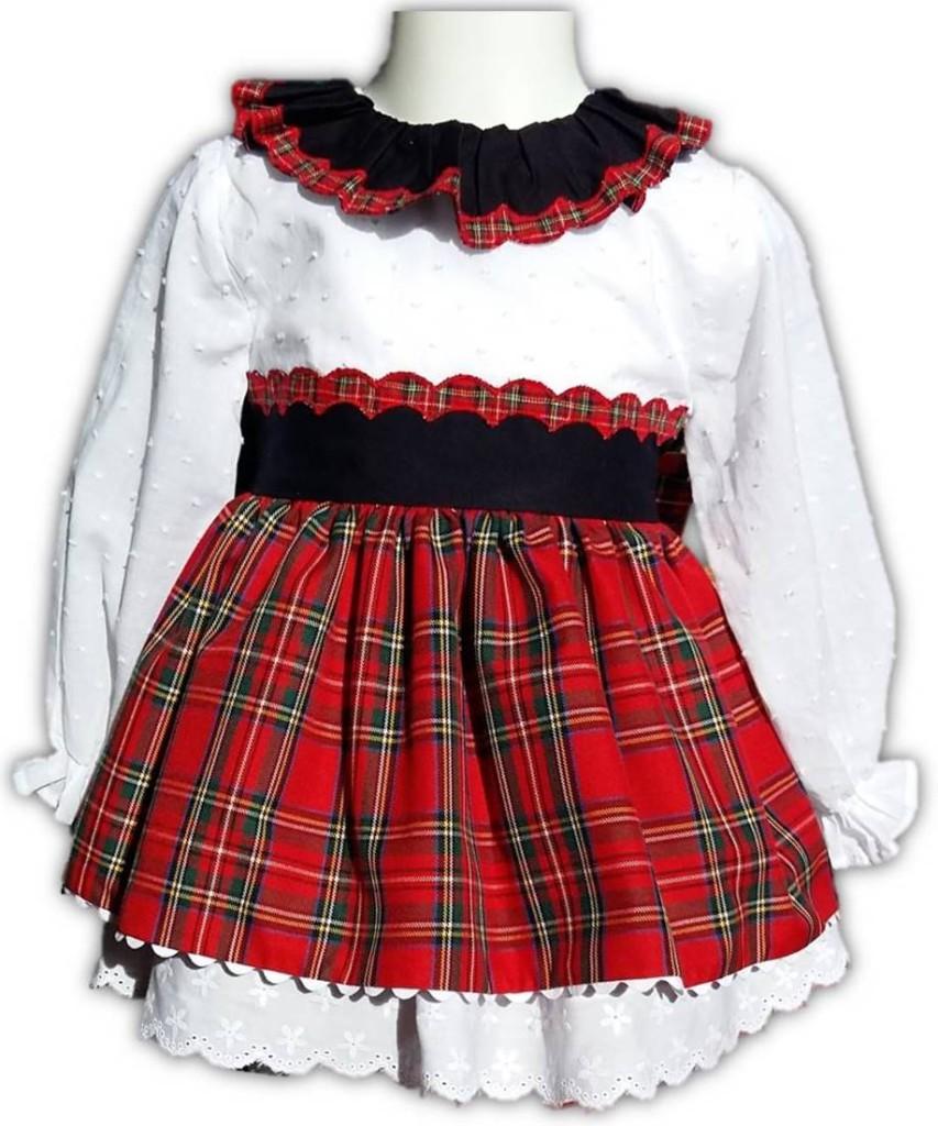 vestido blanco y entredoses, vestido tartan niña, vestido tartán moda infantil online,