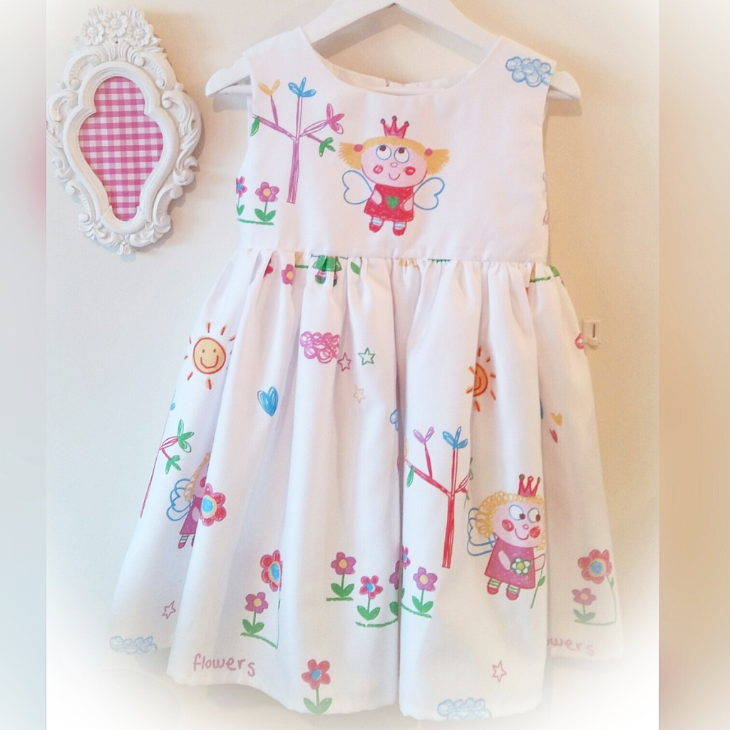 Vestido niña infantil, vestido blanco con dibujos, vestido colorines, vestido niña verano online