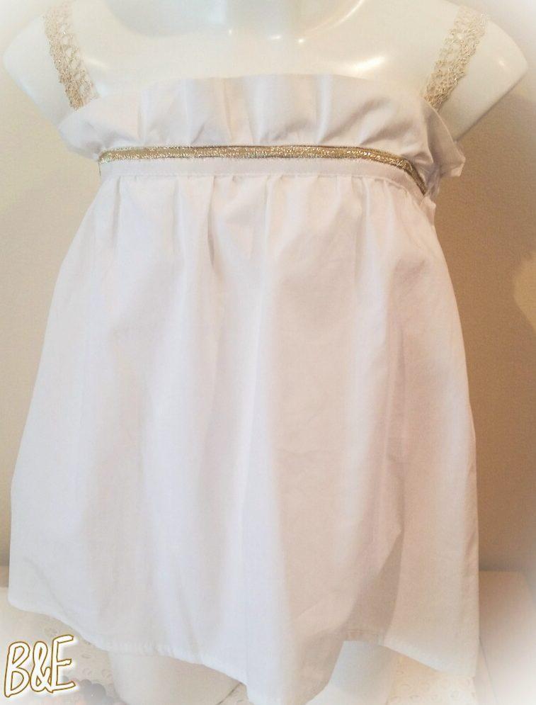 blusa de tirantes niña, blusa de tirantes blanca y dorada niña, camisetas niña online, blusa blanca y dorada niña, top niño
