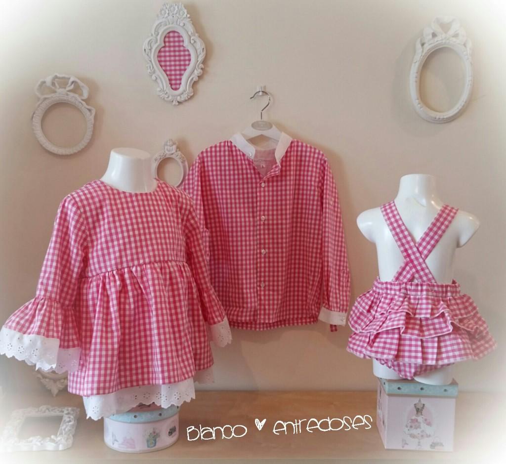 ropa de verano conjuntada, moda infantil online, ropa para conjuntar hermanos, ropa igual rosa, ropa niños vichy rosa