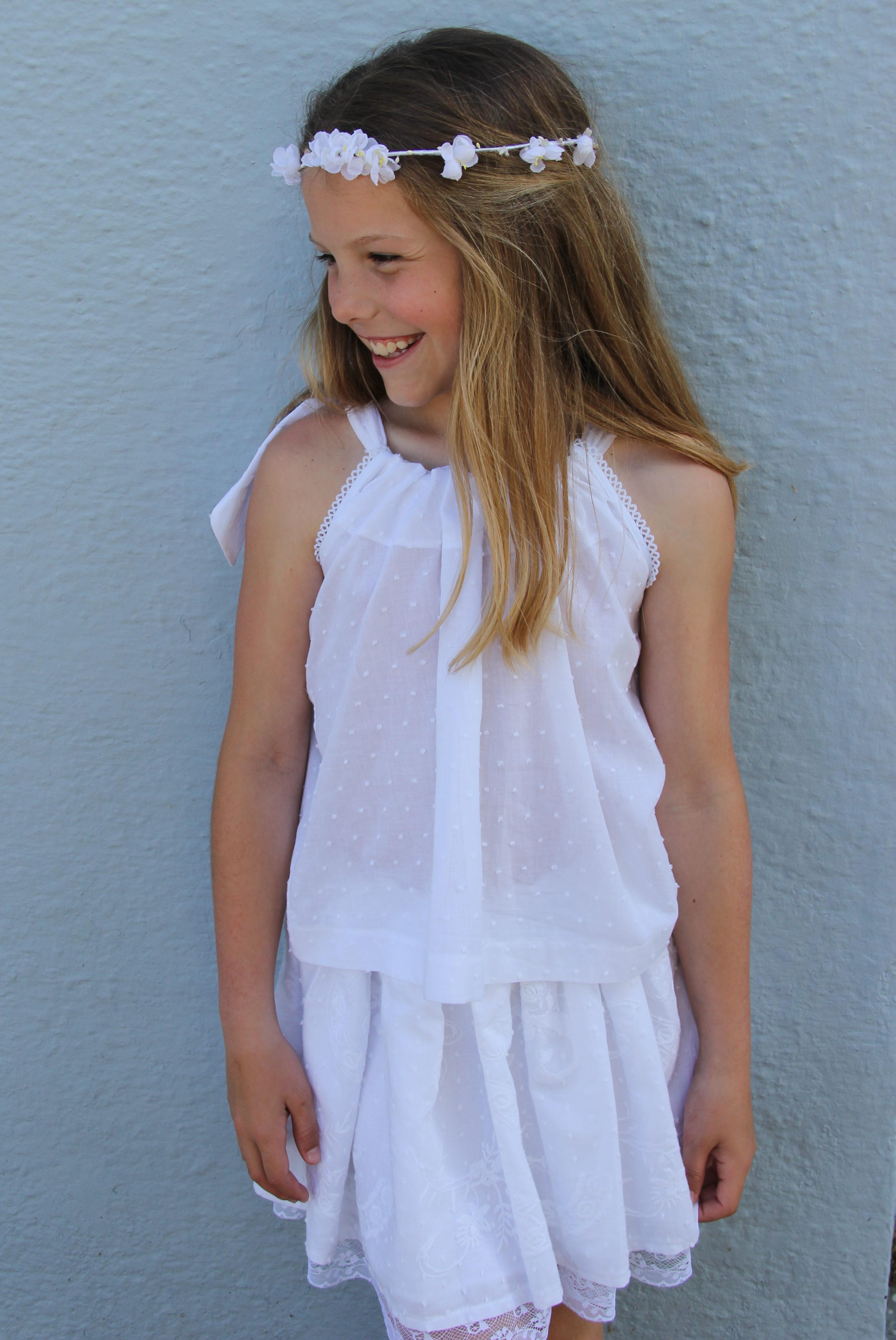 Falda ibicenca para niña, conjunto ibicenco para niña, falda de plumeti bordado, falda blanca niña online